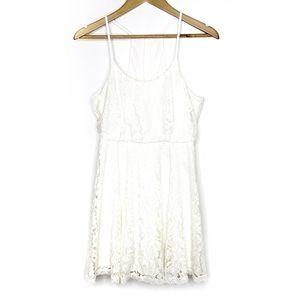 FLYING TOMATO White Lace Open Back Halter Dress S